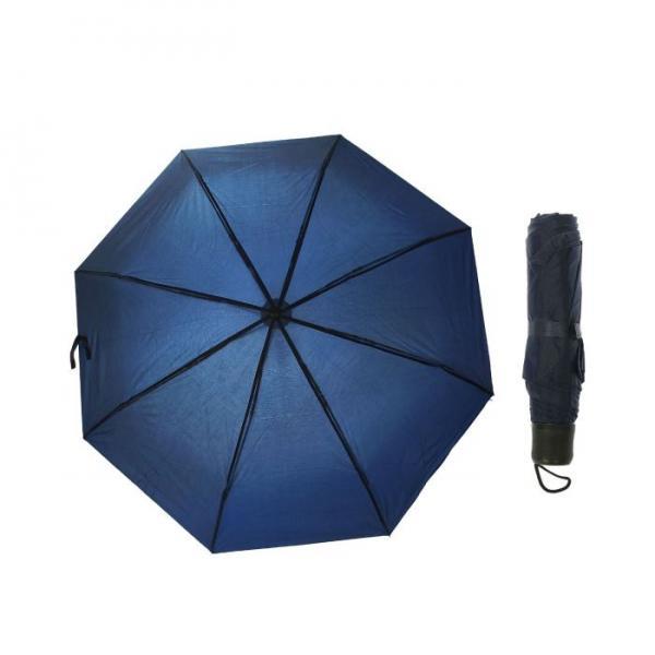 Зонт механический, однотонный, R=48см, цвет тёмно-синий