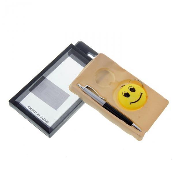 Набор подарочный 2в1: ручка,брелок-фонарик Смайлик, черный