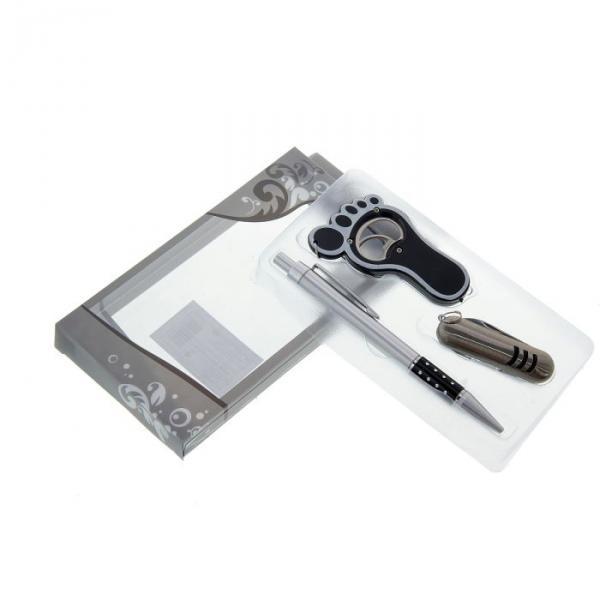 Подарочный набор, 3 предмета в коробке: ручка, брелок-открывашка, нож
