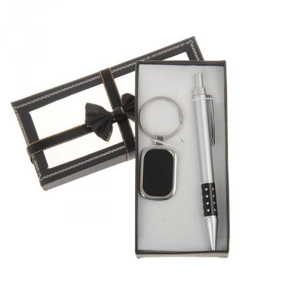 Набор подарочный 2в1 в карт.коробке с бантом (ручка+брелок овал вставка кожзам) черн16*8см