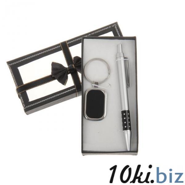 Набор подарочный 2в1 в карт.коробке с бантом (ручка+брелок овал вставка кожзам) черн16*8см купить в Лиде - Брелоки