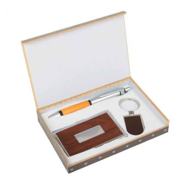 Подарочный набор, 3 предмета в коробке: ручка, брелок, визитница