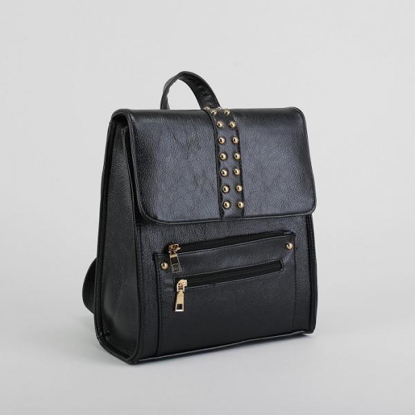 Рюкзак молодёжный на молнии, 1 отдел, 3 наружных кармана, цвет чёрный