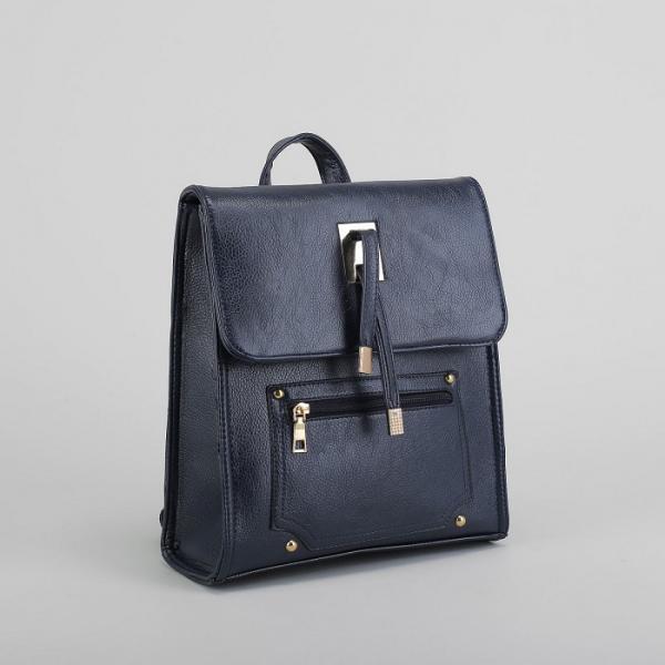 Рюкзак молодёжный на молнии, 1 отдел, 2 наружных кармана, цвет синий