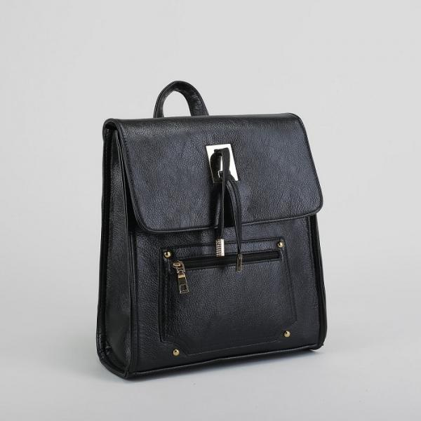 Рюкзак молодёжный на молнии, 1 отдел, 2 наружных кармана, цвет чёрный