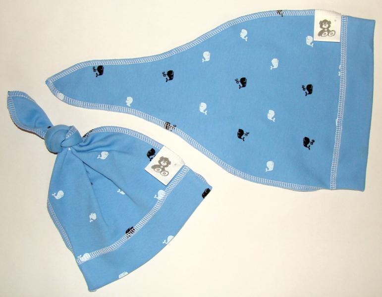 Шапочка - чепчик киты на синем