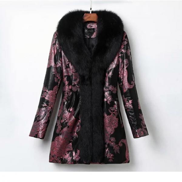 Утепленная куртка/Пальто с принтом . Кожа , мех натуральный