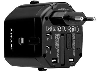 Универсальное сетевое ЗУ Momax 2хUSB 2.1A + ун. адаптер (UA1D) black