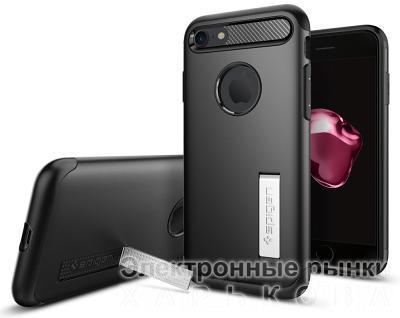 Чехол-подставка Spigen Slim Armor iPhone 7/8 black - Чехлы для телефонов, mp3 плееров на рынке Барабашова