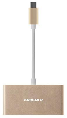Кабель-переходник Momax USB-C to 3xUSB, USB-C 0.1m (золотой)