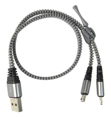 Кабель BlackBox USB-microUSB+Lightning (змейка черный)