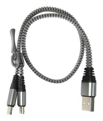 Фото Кабель, BlackBox Кабель BlackBox USB-microUSB+USB-C (змейка черный)