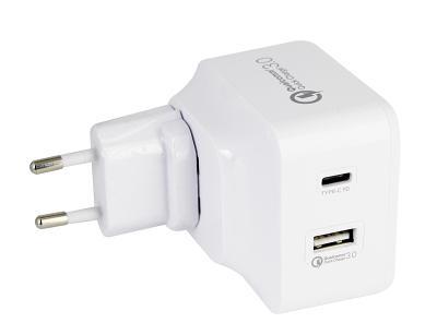 Универсальное сетевое ЗУ Energea USB 2x(Travelite PD+QC3) 48 W белый