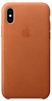 Чехол-накладка Apple Leather Case (Saddle Brown) для iPhone X