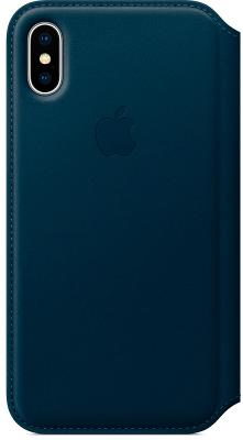 Чехол-накладка Apple Leather Folio (Cosmos Blue) для iPhone X