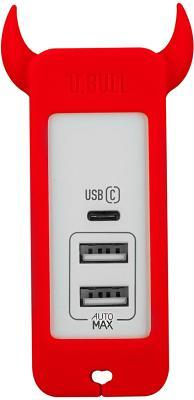 Универсальное сетевое ЗУ Momax USB-C + 2хUSB EU (UM3SEUR) красный