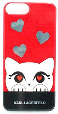 Чехол-накладка Lagerfeld Valentine TPU Case Choupette iPhone 8 Plus/7 Plus Glitter Red
