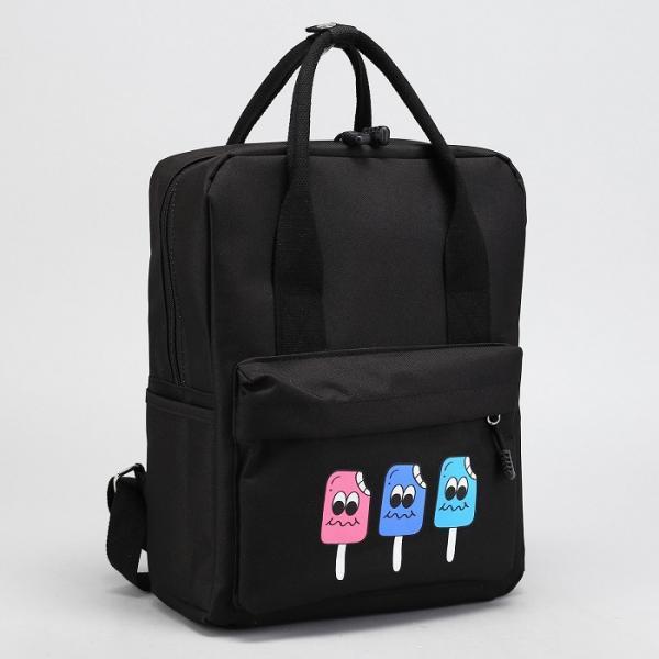 Рюкзак-сумка Мороженое, 27*13*35см, отдел на молнии, н/карман, черный