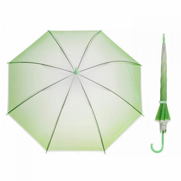 """Зонт полуавтоматический """"Градиент"""", трость, R=46см, цвет зелёный"""
