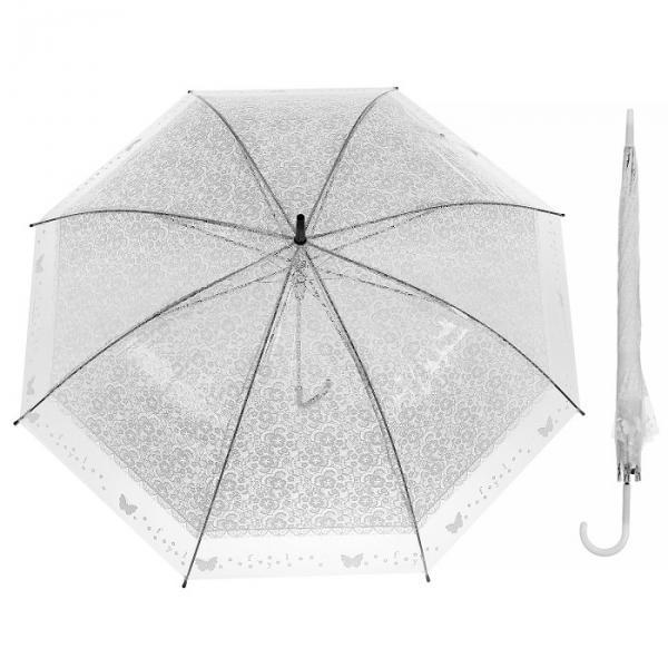 """Зонт полуавтоматический """"Кружево"""", трость, R=46см, цвет белый"""