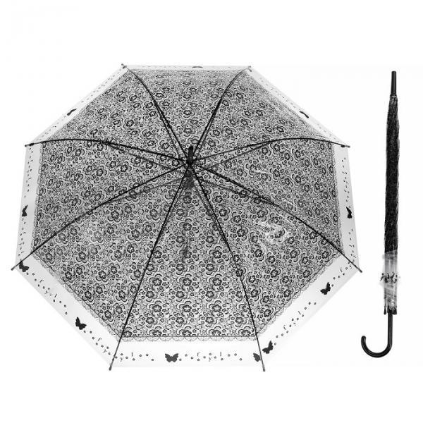 """Зонт полуавтоматический """"Кружево"""", трость, R=46см, цвет чёрный"""