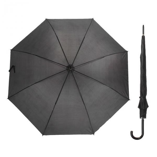 """Зонт полуавтоматический """"Классика"""", трость, R=58см, цвет чёрный"""