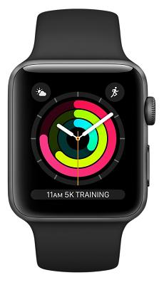 Фото Смарт-часы, Apple Смарт-часы Apple Watch Series 3 42mm Space Gray Aluminum Case with Black Sport Band (MQL12FS/A)