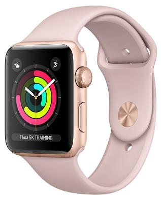 Смарт-часы Apple Watch Series 3 38mm Gold Aluminum Case with Pink Sand Sport Band (MQKW2FS/A)