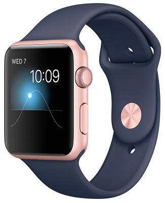 Смарт-часы Apple Watch Series 1 42mm Rose Gold Aluminium Case with Midnight Blue Sport Band (ZKMNNM2)