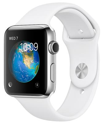 Смарт-часы Apple Watch Series 2 42mm Stainless Steel Case with White Sport Band (ZKMNPR2GK/A)