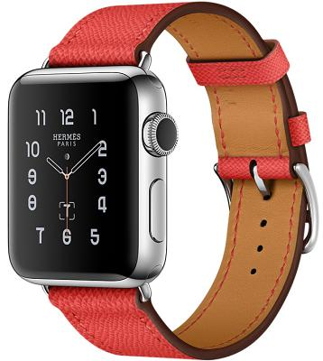 Смарт-часы Apple Watch Series 2 38mm Stainless Steel Case Hermes Rose Jaipur Epsom Leather Single Tour (ZKMNQ62LL/A)