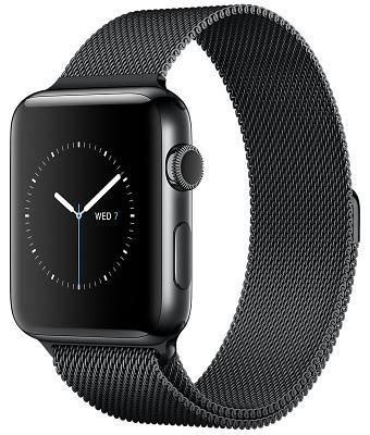Смарт-часы Apple Watch Series 2 42mm Space Black Stainless Steel Case Space Black Milanese Loop (ZKMNQ12LL/A)