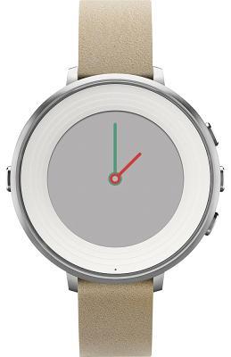 Смарт-часы Pebble Time Round 38.5 mm SS-Silver/Stone Leather для Apple и Android устройств