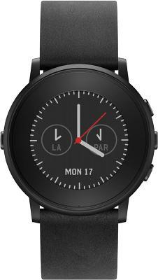 Смарт-часы Pebble Time Round 38.5 mm SS-Black/Black Leather для Apple и Android устройств