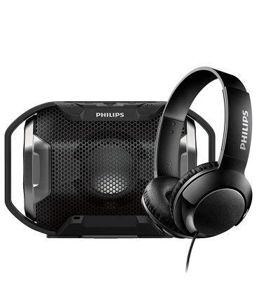 Влагозащищенная акустика Philips (SB300B/00) + Наушники Philips SHL3070BK (Black) в подарок