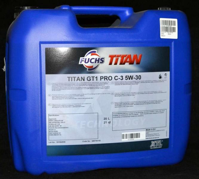 Масло моторное TITAN GT1 5W-40 20л SN LL-04 505.01 FUCHS Синтетика