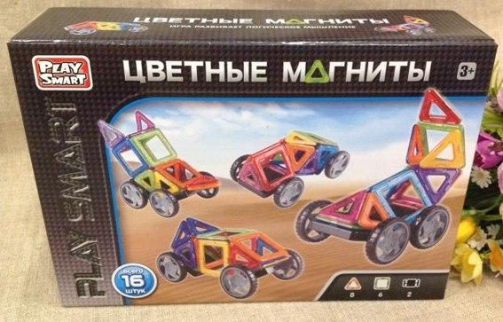 Конструктор магнитный Цветные магниты, 16 деталей с колесами Play Smart