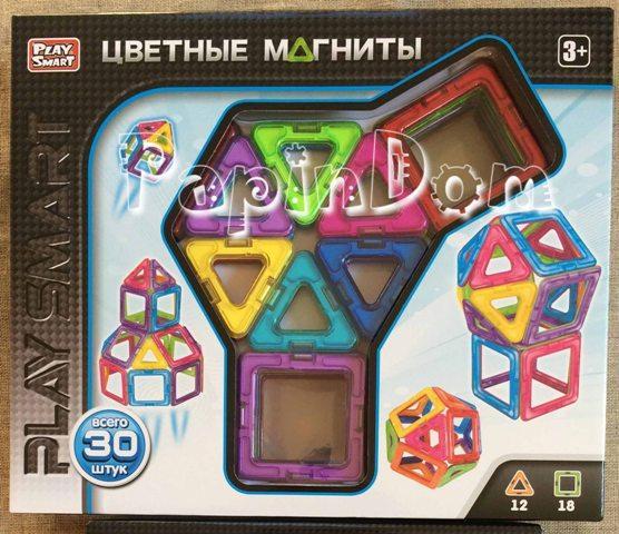 Конструктор магнитный Цветные магниты, 30 деталей Play Smart