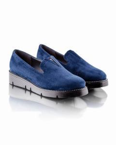 Фото  Замшевые синие туфли