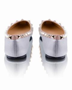 Фото Женские балетки Серебристые балетки с острым носочком