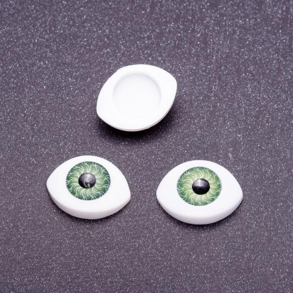 """Фурнитура """"Живые глазки"""" пара цвет зеленый d-16х12мм"""