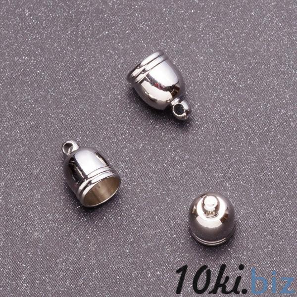 Фурнитура наконечник для бус L-12мм d1-8мм d2-6мм d3-2мм цвет серебро
