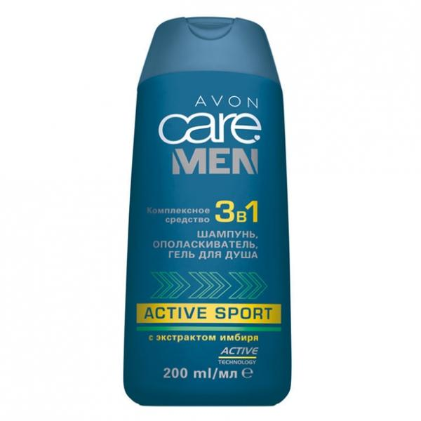 Фото для волос, care men Комплексное средство для волос и кожи тела 3-в-1: шампунь, ополаскиватель, гель для душа (200 мл)