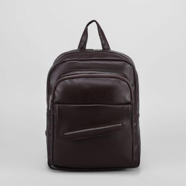 Рюкзак мол L-932, 28*9*35, отд на молнии, 2 н/кармана, коричневый