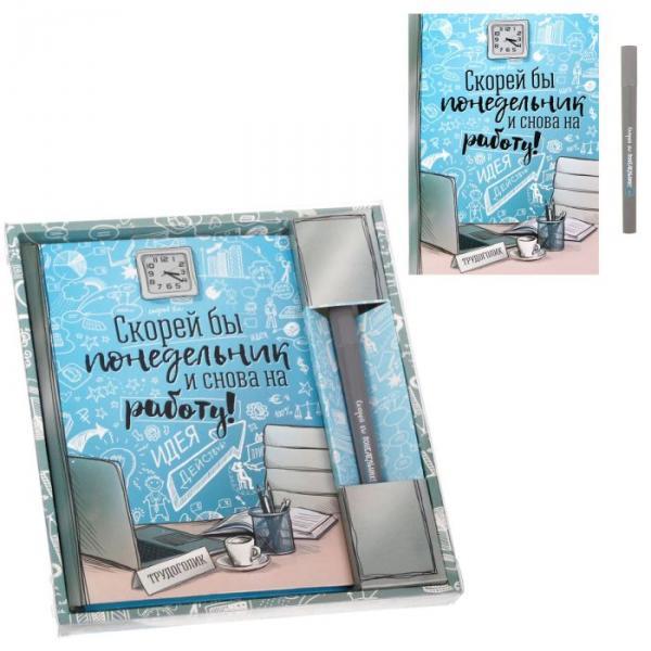 """Подарочный набор """"С пожеланием успехов в работе"""": ежедневник 80 листов, А5, ручка"""