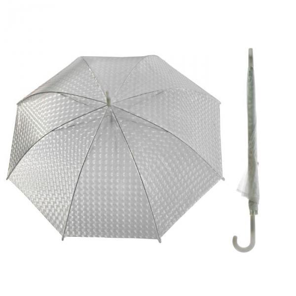 Зонт-трость 3D, полуавтоматический, R=55см, цвет белый