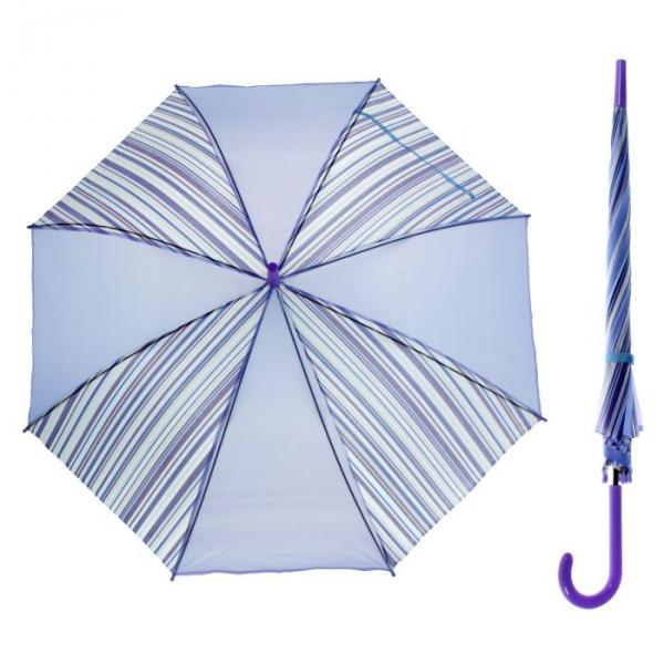 """Зонт-трость """"Полоска"""", полуавтоматический, R=55см, цвет сиреневый"""