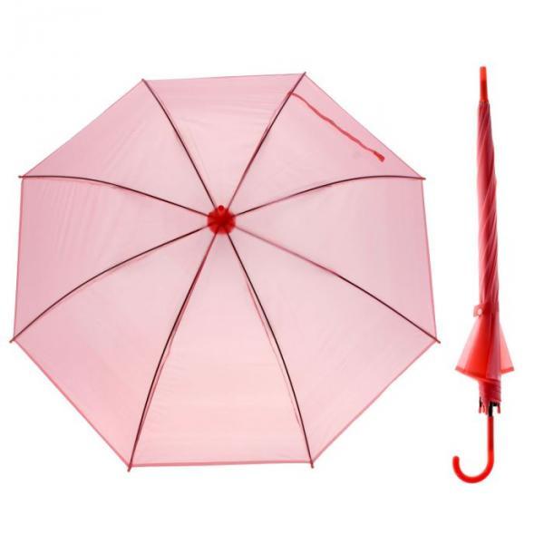 Зонт-трость, полуавтоматический, R=46см, цвет розовый