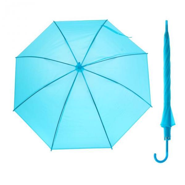 Зонт-трость, полуавтоматический, R=46см, цвет голубой