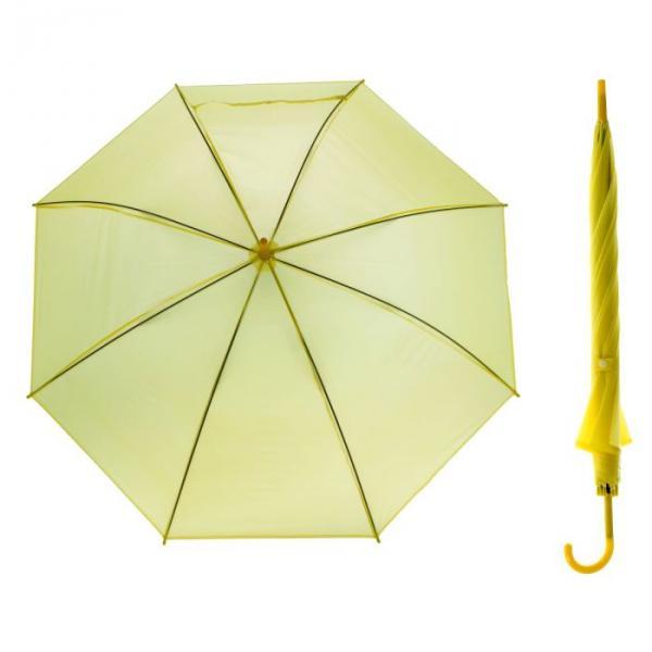 Зонт-трость, полуавтоматический, R=46см, цвет жёлтый